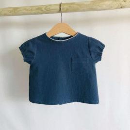 Blouse bleue marine en coton lavé