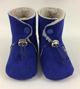 Chaussons fourrés bleu roi