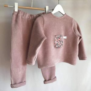 Ensemble velours rose bébé